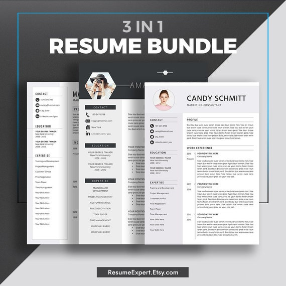 Creative Resume Template For Word 1 And 2 Page Resumes Cover