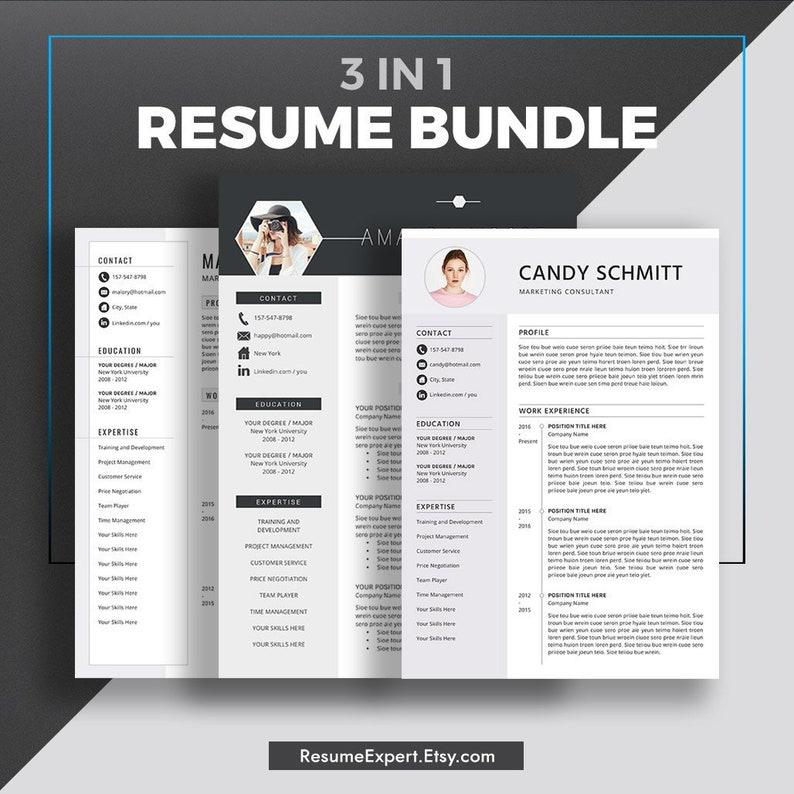 360c7e71a Professional Resume Template Bundle Cover Letter CV