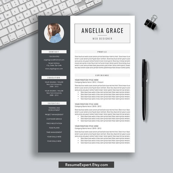 Professional Resume Template Cover Letter Cv Template 3 Pages Word Resume Modern Resume Creative Resume Instant Download Simple Resume