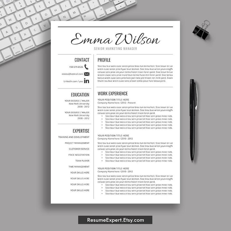 Modern Resume Template CV Cover Letter Editable