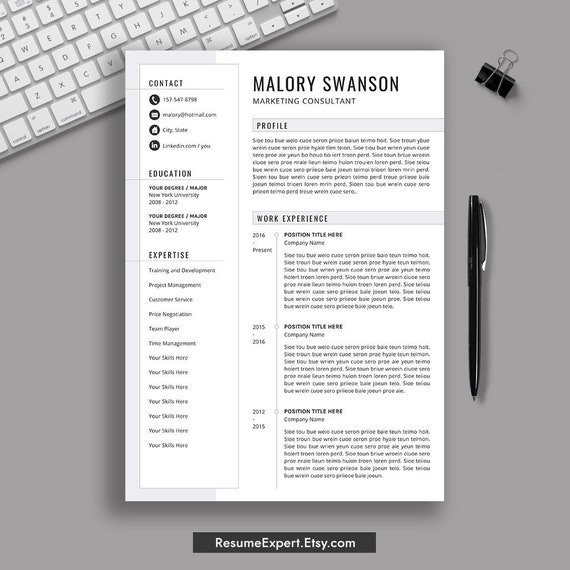 Professional Resume Template / CV Template, Cover Letter, Instant Download,  Creative and Modern Resume Template, Word Resume, Mac, PC,Malory