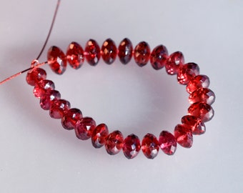 Pink Garnet Graduated Faceted Rondelles - High Quality Faceted Pink Garnet Beads PRICE REDUCED to 1/3 off