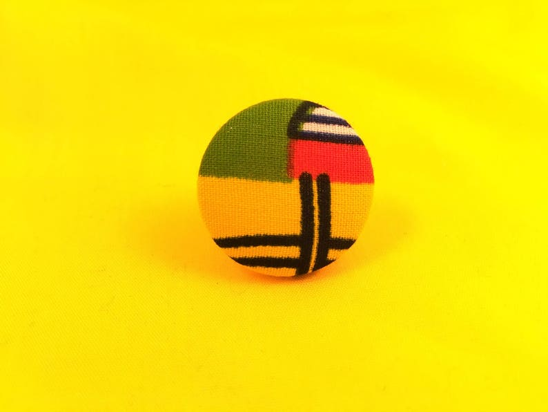 Rings Button Rings African Print Rings African Jewelry image 0