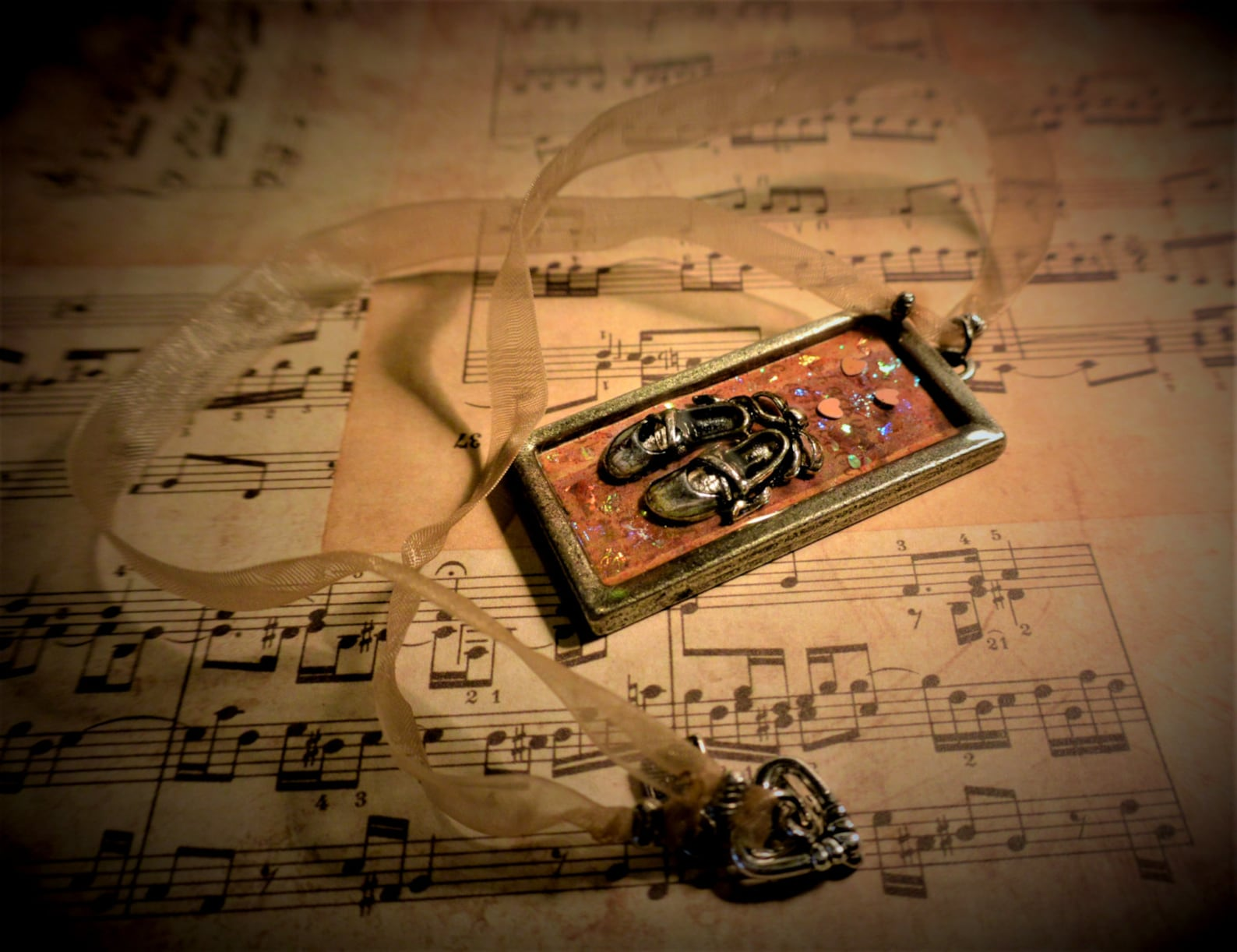 the recital: a miniature diorama, mixed media, resin art, story pendant with a handmade choker necklace and ballet shoes charm