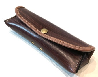 Leather Glasses Case (brown / wood grain)