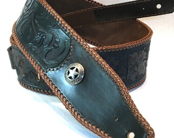 Leather Strap ( star concho / carving)