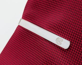 Monogram Tie Clip Silver,Personalized Wedding Tie Clip for Groom,Custom Groomsmen Tie Clip,Engraved Tie Bar Clip,Monongram Tie Bar,Best Man