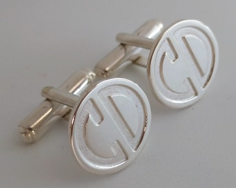 Custom Groomsmen Cufflinks,Silver Monogram Cufflinks,Personalized Wedding Cufflinks for Groom,Engraved Cufflinks,Monogrammed Cufflinks
