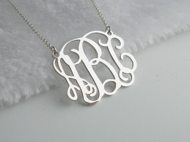 Monogram Necklace 2.5 inch,Silver Monogram Initials Necklace,Custom Nameplate Necklace,Personalized Monogrammed Necklace,Christmas Gift