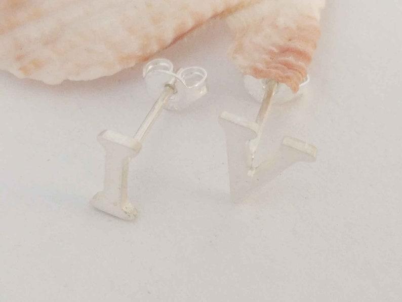 Custom Tiny Number Stud Earrings,Silver Roman Numeral Earrings,Stud Earrings,A-Z Stud Earrings,Figure Earrings,Minimalist Earrings,Set Of 2