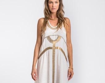 Egyptian Dress, White and Gold Dress, Evening Dress, White Maxi Dress Summer, Long White Dress, Goddess Dress
