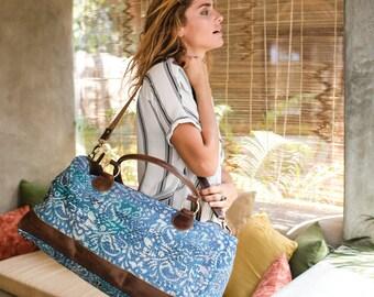 Quilt Leather Weekender Bag Boho Ethnic Tribal Large Shoulder Bag- Travel Bag- Duffle Bag- Overnight Bag- Gift For Her