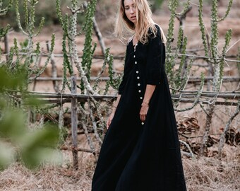 Boho Button Dress, Black Dress, Long Sleeve, Bohemian Dress, Button Down Dress, Black Maxi Dress, Bohemian Clothing
