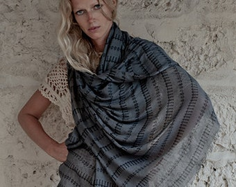 Boho Scarf, Grey And Black, Fashion Scarf, Pareo, Boho Fashion, Soft And Lightweight, Summer Scarf, Gift For Her, Womens Gift