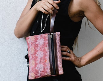 Embroidery And Leather Clutch Wristlet- Boho Clutch Purse- Clutch Wallet- Zipper Clutch- Ethnic Tribal Women Clutches