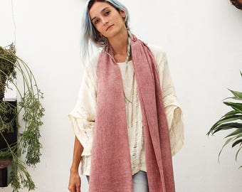 Womens Scarves, Dusty Pink Scarf, Stonewashed, Cotton Scarf, Soft Scarf For Women, Rose Scarf, Long Scarf, Boho Scarf, Valentines Day Gift