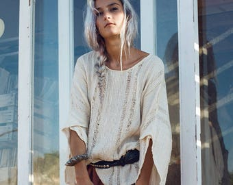 6ddb74c910a Womens Clothing-Oversized Top-White Blouse-Long Sleeve Shirt-Boho Top-Bohemian  Clothing- White Tops