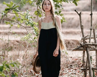 Cleopatra Long Black Dress, Boho Black Dress, Bohemian Dress, Black Summer Dress, Loose Fit, Black Dresses For Women, Black And Gold Dress