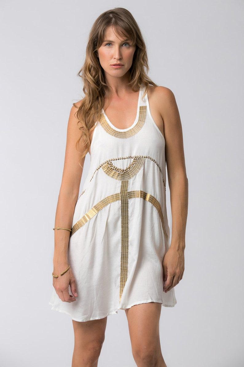 c370e49f862 Gold and White Short Dress Tunic Dress Egyptian Boho Summer