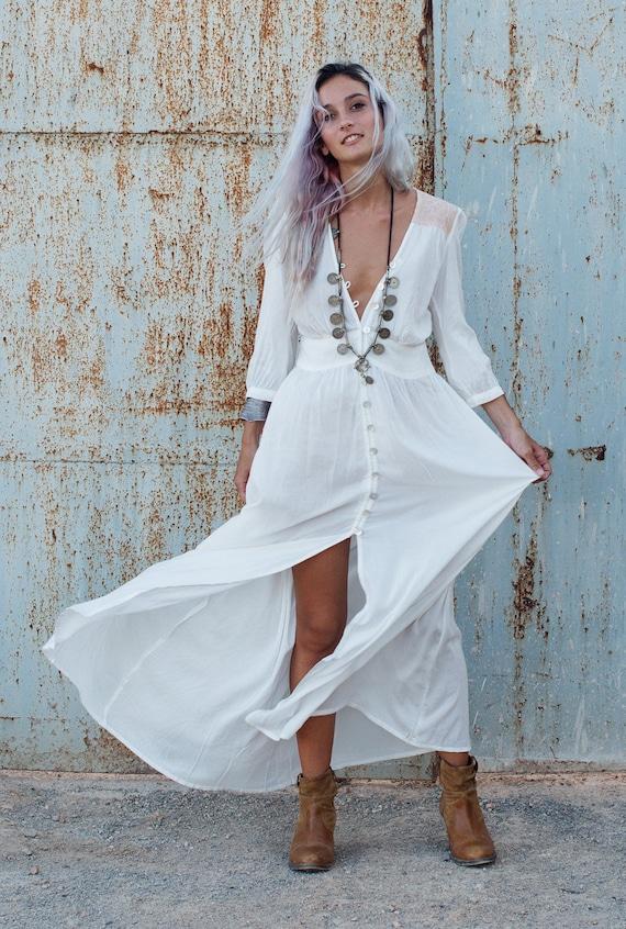 Dress Sleeves Fashion Boho Button Long Bohemian With Dress Clothing Maxi Dress White White Dress Dress cqHxCO8xvw