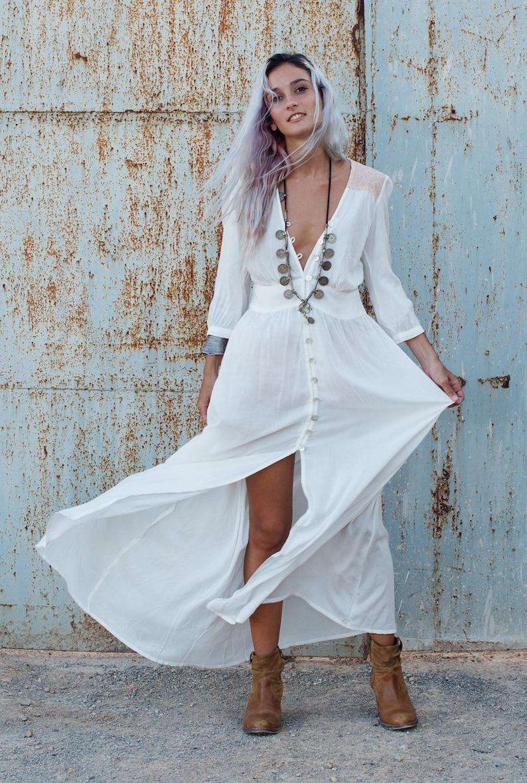 dd9764cc382d1 Bohemian Clothing White Long Dress Button Dress White Maxi