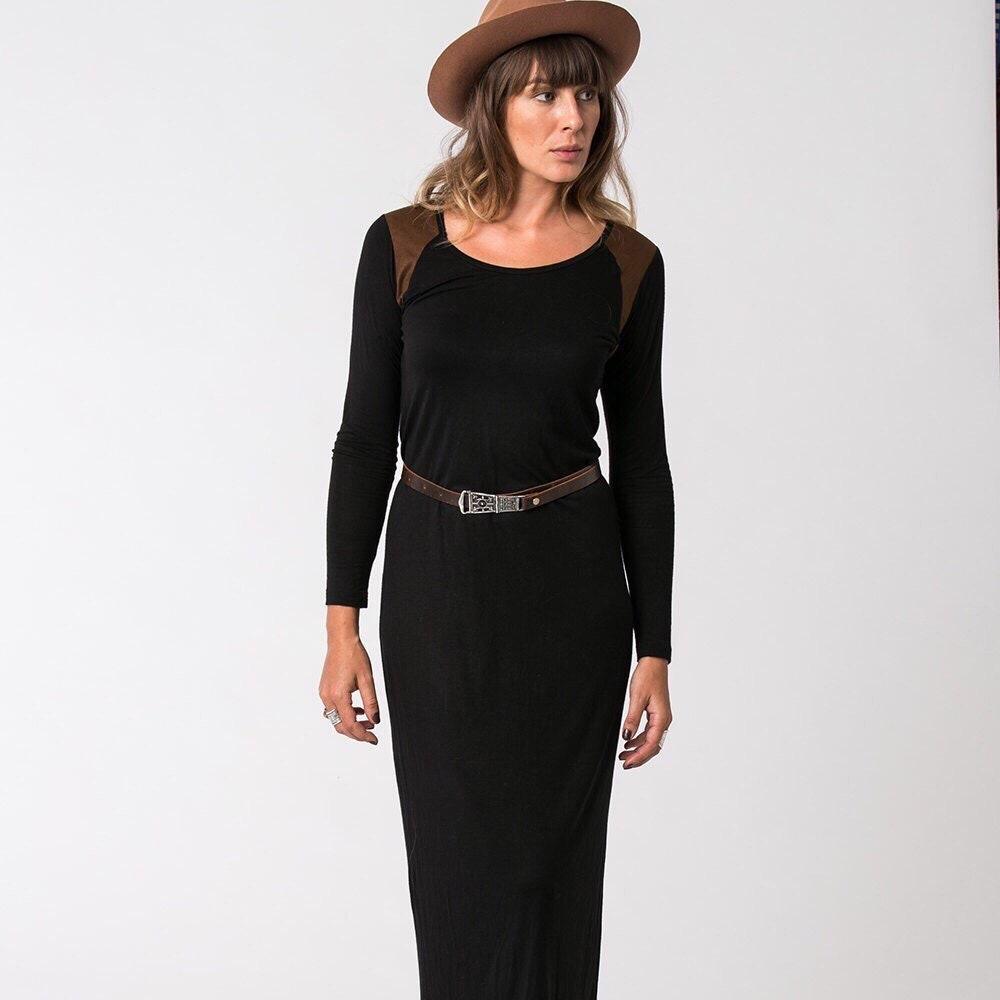f0e5c49f2f443 Oda Winter Dress Black Bodycon Dress Boho Dress Casual | Etsy