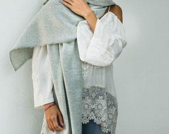 Cotton Wool Zigzag Scarf In Off White Grey, Wool Scarf Men, Wool Scarf Women, Cozy Scarf, Fall Winter Scarf