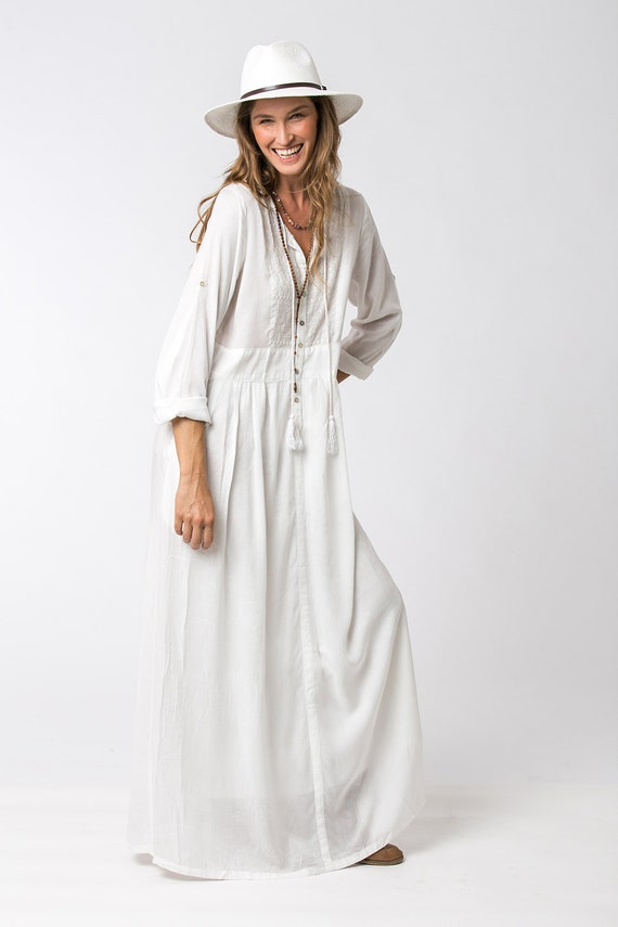 Long Sleeve White Dress Bohemian Dress Loose Dress White | Etsy