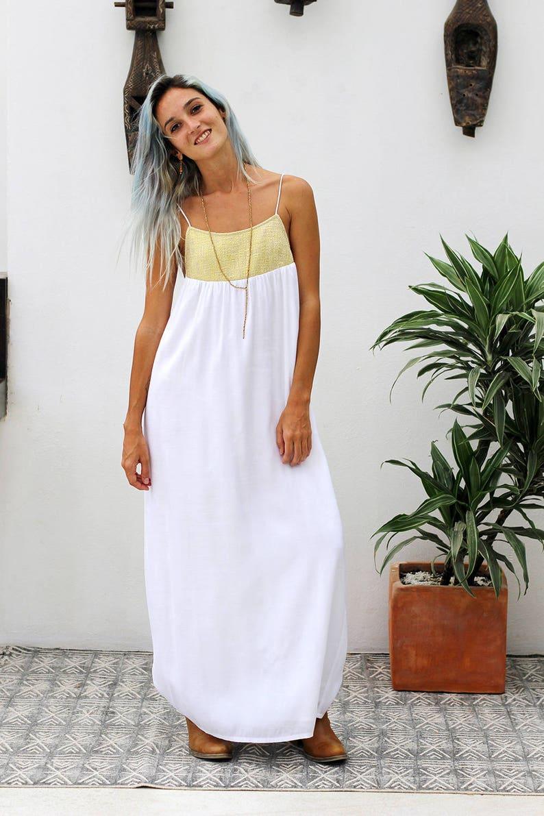 9397fcad1bd Cléopâtre-longue robe blanche robe Boho Boho robe robe sans
