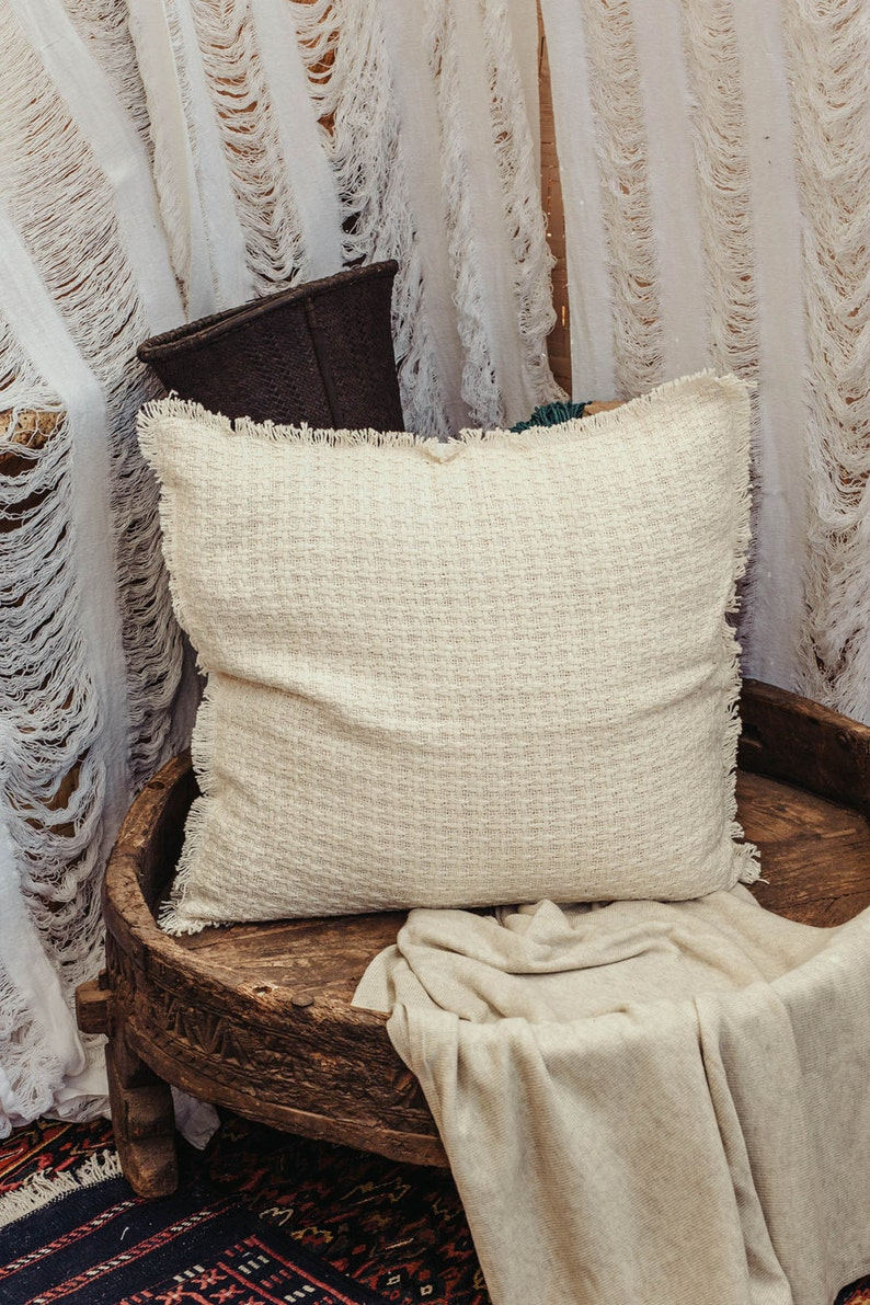 Throw Pillow Cover 20x20 In Beige Knitted Pillow Cover Etsy