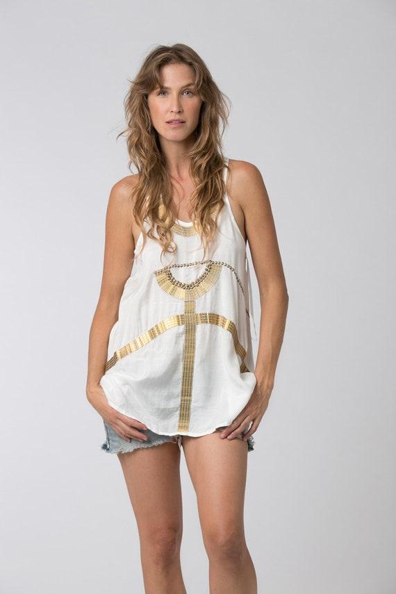 Tunic CLEOPATRA and Clothing White Gold Tunic Tunic Top Tank Egyptian Summer Goddess Boho Tops White Bohemian EtdqqA