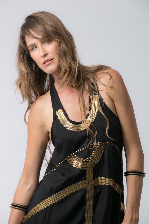 Gold Tunic And Egyptian Dress Sleeveless Mini Dress Dress Summer Trendy Dress Black Dress In Short Goddess Xq00wRT