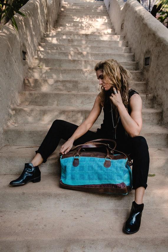 Turquoise Weekender Bag For Women- Travel Bag, Duffle Bag, Overnight Bag,  Weekend Bag, Large Shoulder Bag, Gift For Traveler