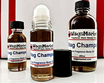 Nag Champa Perfume Oil, 1/3oz - 1oz Roll On Bottle, Glass Bottle.