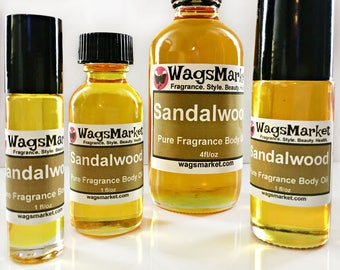 Sandalwood Oil, Roll On Bottle, 1/3oz, 1oz, Pure Sandalwood Perfume Oil.