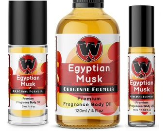 Egyptian Musk Oil, Pure and Thick, from 0.33oz Roll On -  4oz Glass Bottle by WagsMarket - Egyptian Musk Factory, FREE SHIPPING in US.