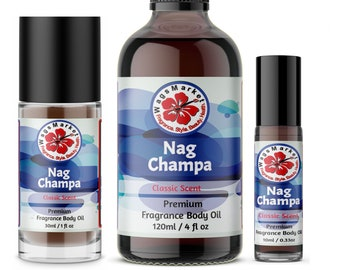 Nag Champa Oil, Pure Fragrance Body Oil from 0.33oz - 4oz Glass Bottle by WagsMarket