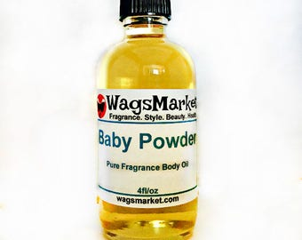 Baby Powder, Roll On Bottle, 1/3oz, 1oz, Pure Fragrance Body Oil.
