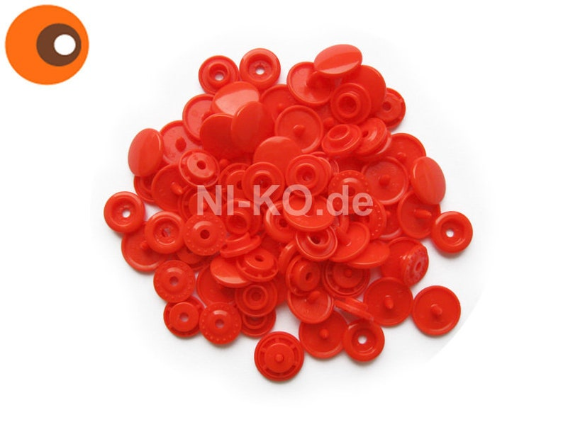 30 pcs. Snaps-Color B01 light-red