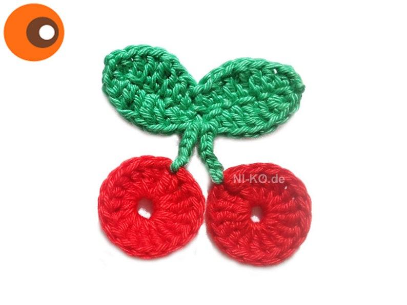 Crochet cherries applique approx. 6 cm image 0
