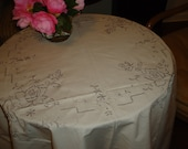 Vintage Ecru Tablecloth with Drawn Work Madeira Like Embroidery 63 inch round 6 Napkins Cotton, Set a Perfect Tea, Luncheon or Dinner Table