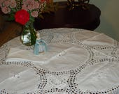 Vintage, Beautiful Crochet Cotton Embroidered, Paper White, 36 in. Square Tablecloth and 4 Napkins
