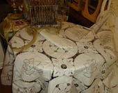 Vintage MADEIRA Embroidered Cutwork and Lace Ecru Tablecloth 68 inch Round 6 Napkins NEW Store Stock Today 39 s Gift Tomorrow 39 s Heirloom