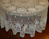 Vintage, Handmade White Crochet Lace, 52 inch, Round Tablecloth, Weddings, Tabletopper