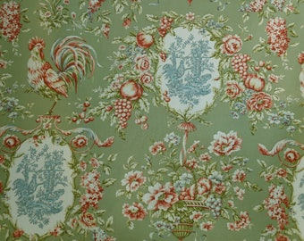 """Waverly, """"RENDEZVOUS"""" Sorrel, Toile Fabric, French Country, Roosters  Country Life, Sold by the yard"""