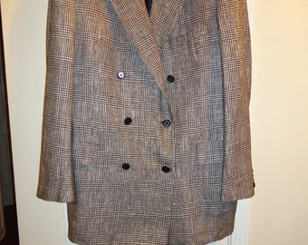 OXXFORD CLOTHES Double Breasted Balmoral Silk Sports Coat 44L Handmade iI3Xd