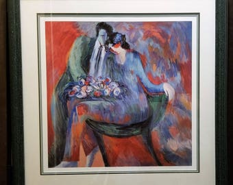 """Rare Barbara A. Wood """"Anniversary"""" Framed Signed Limited Edition Serigraph 680/975"""