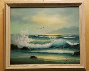 Antique Oil Painting Seagulls Flying Over Ocean Beach Sea Scape by P. Jenkens