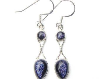Blue Goldstone Goddess Earrings
