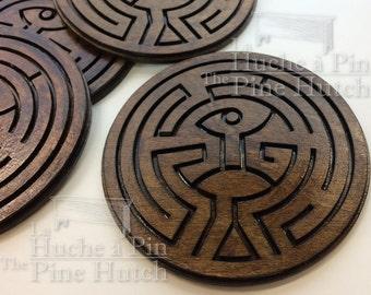 Set of 4 coasters CW WESTWORLD labyrinth maze coasters